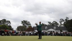 Tiger Woods after winning the US Masters at Augusta